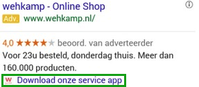 Adwords advertentieextensie voor App download