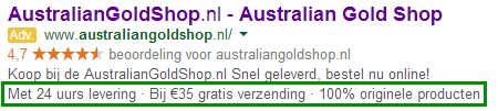 Adwords callout extensie Australiangoldshop
