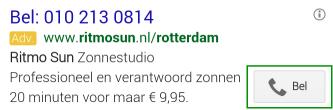 Adwords Oproep Extensie Ritmosun