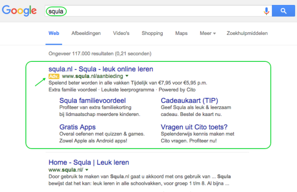 Google Adwords advertentie Squla