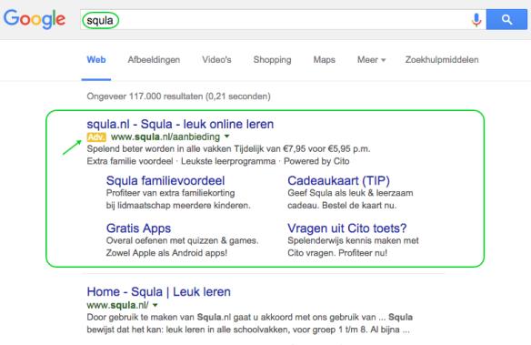 Google Adwords advertentie Squla