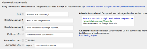 Google AdWords Reguliere Ads Advertentie