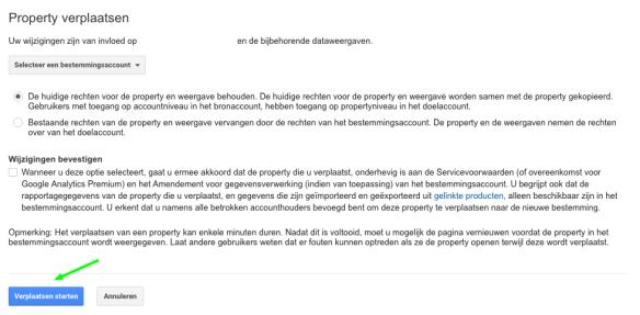 Het bevestigen van een Google Analytics Property verplaatsing.