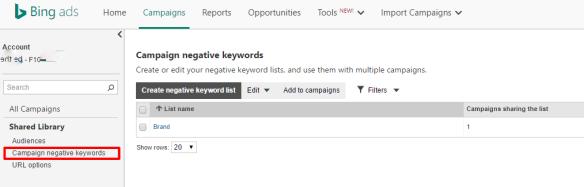 Van Adwords naar Bing Ads importeren - uitsluitingszoekwoorden