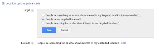 Van Adwords naar Bing Ads importeren - locatie keuze