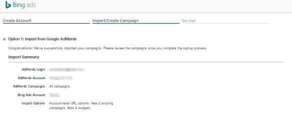 Het importeren van Adwords naar Bing campagnes