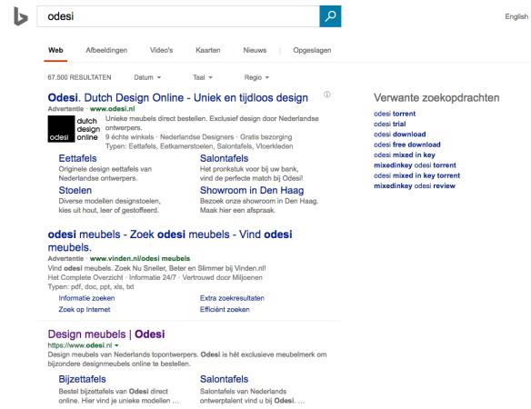 Odesi logo toegevoegd aan Bing ads