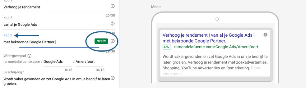 De nieuwe derde koptekst en tweede omschrijving van een Google Ads tekstadvertentie voor RamondelaFuente.com.